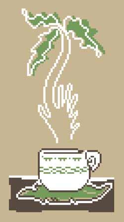 """увидела для чего красилась канва и вспомнила... вот  """"иллюзии в чашечке кофе """" мексика, музыка, пальма и танец."""