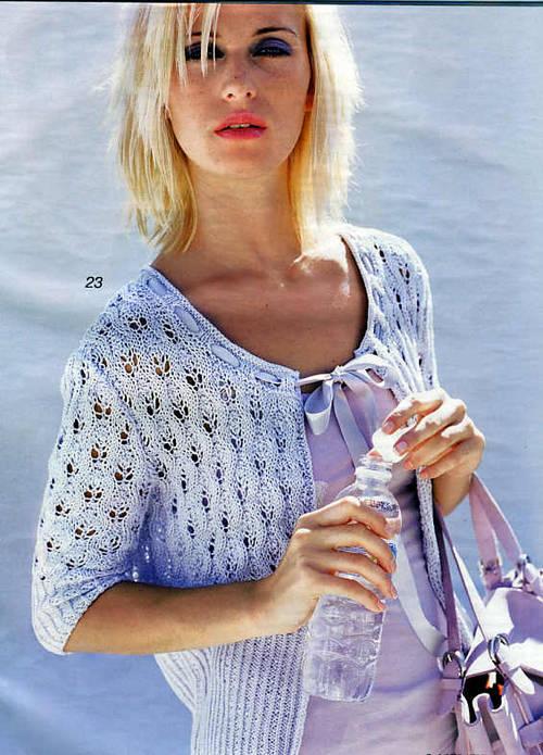 вязание, рукоделие, женская одежда, узоры Ажурный жилет.