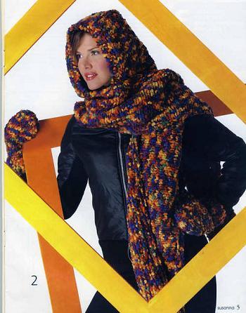 Вязание спицами пуловера с капюшоном.  Схема вязания. .