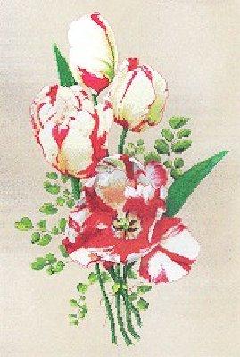 Схема вышивки крестом - Пестрые тюльпаны.