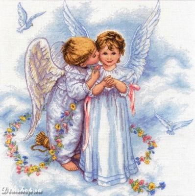 Купить набор для вышивания крестиком Dimensions Поцелуй ангела (арт.  35134) в магазинчике рукоделия fuby.ru.