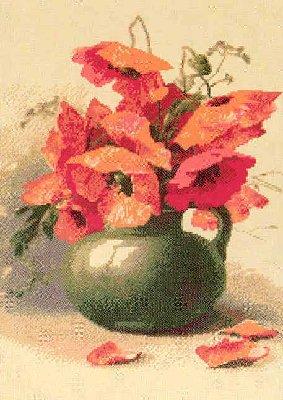 схема для вышивки крестом Маки в вазе.