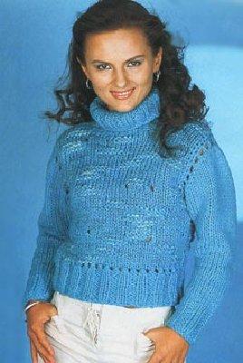 Вязанные трёхцветные женские свитера