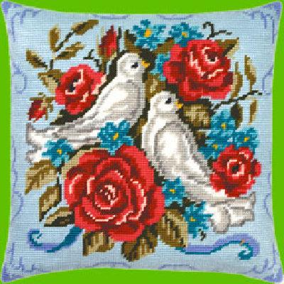 розы.  Другие вышивки. романтика.  Отметить для заказа. птицы. незабудки.  V-17: Голуби.
